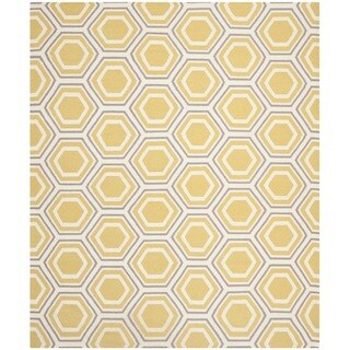 Safavieh Handwoven Moroccan Dhurrie Ivory/ Yellow Geometric Wool Rug (8' x 10')