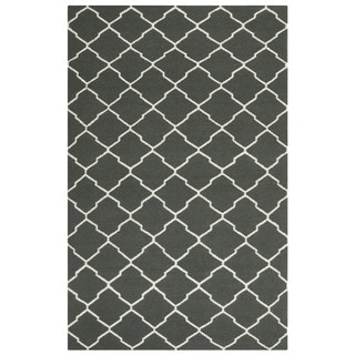 Handwoven Moroccan Dhurrie Chocolate-Brown Geometric Wool Rug (8' x 10')