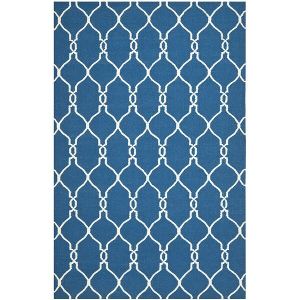 Safavieh Hand-woven Moroccan Reversible Dhurrie Dark Blue Wool Rug (4' x 6')