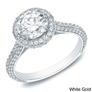 Auriya 14k Gold 2ct TDW Certified Diamond Halo Engagement Ring (H-I, SI1-SI2)