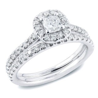 Auriya 14k Gold 1ctw Cushion-cut Halo Diamond Engagement Ring Set