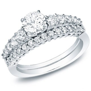 Auriya 14k Gold 1ct TDW Certified Diamond Bridal Ring Set (H-I, SI1-SI2)