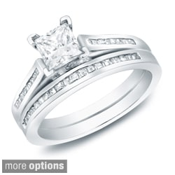 Auriya 14k Gold 1 1/2ct TDW Certified Princess Diamond Bridal Ring Set (H-I, SI1-SI2)