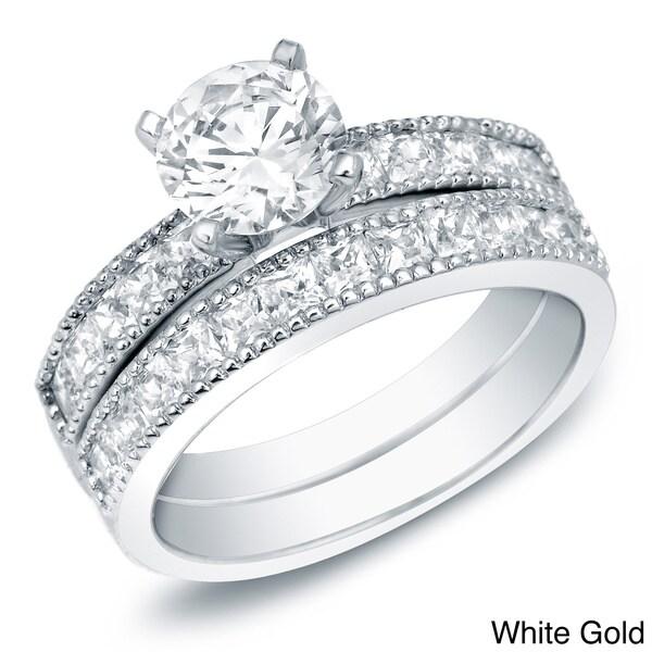 Auriya 14k Gold 2ct TDW Certified Diamond Bridal Ring Set (H-I, SI1-SI2)