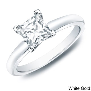 Auriya 14k Gold 1ct TDW Certified Princess Diamond Solitaire Ring (H-I, SI1-SI2)