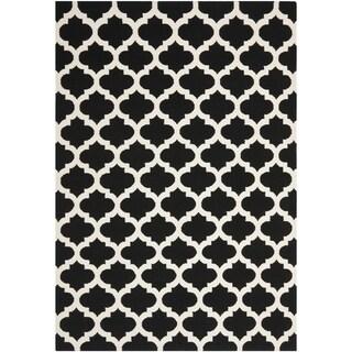 Safavieh Hand-woven Moroccan Reversible Dhurrie Black Wool Rug (8' x 10')