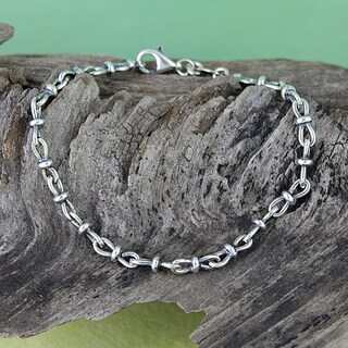Handcrafted Sterling Silver Antiqued Link Chain Bracelet (Italy)