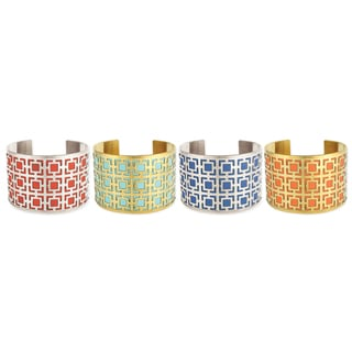 Handcrafted Colorful Leather Cutout Squares Cuff Bracelet (India)