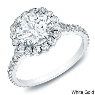 Auriya 14k Gold 1 1/2ct TDW Certified Halo Diamond Engagement Ring (H-I, SI1-SI2)