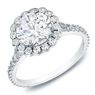 Auriya 14k Gold 1 1/2ct TDW Certified Halo Diamond Engagement Ring (H-I, SI1-SI2)