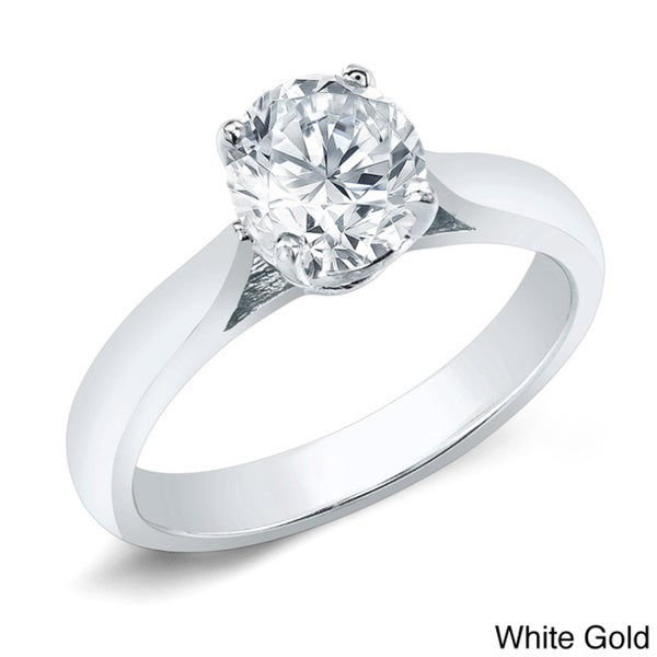 Auriya 14k Gold 3/4ct TDW Certified Round Diamond Solitaire Ring (H-I, SI1-SI2)