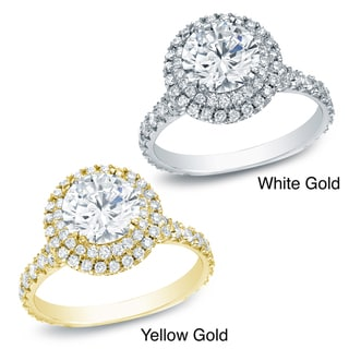 Auriya 14k Gold 2ct TDW Certified Round Diamond Halo Engagement Ring (H-I, SI1-SI2)