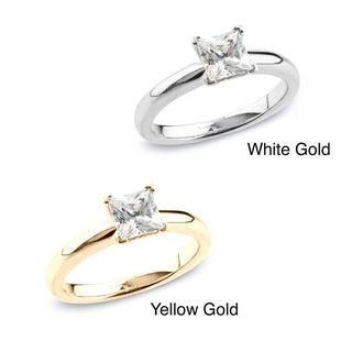 Auriya 14k Gold 1/2ct TDW Certified Princess Diamond Solitaire Ring (H-I, SI1-SI2)