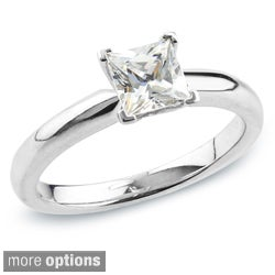 Auriya 14k Gold 1/2ct TDW Certified Princess Diamond Solitaire Ring (H-I, SI1-SI2)
