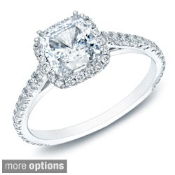 Auriya 14k Gold 1 1/2ct TDW Certified Cushion Diamond Halo Engagement Ring (H-I, SI1-SI2)