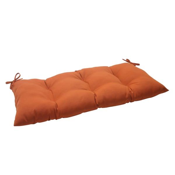 Pillow Perfect Cinnabar Polyester Burnt Orange Tufted Outdoor Loveseat Cushion