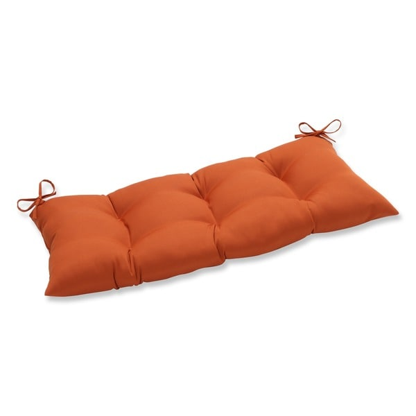 Pillow Perfect Cinnabar Polyester Burnt Orange Tufted Outdoor Loveseat Cushion