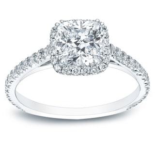 Auriya 14k Gold 1 1/2ct TDW Certified Diamond Halo Engagement Ring (H-I, SI1-SI2)