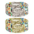 Handcrafted 6 Row Glass Mosaic and Metal Stretch Bracelet (India)