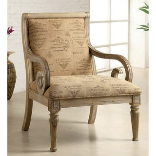 Furniture of America Fran Script Fabric Whitewash Solid Wood Accent Chair