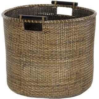 Rattan Antique Finish Round Storage Bin (China)