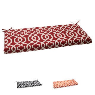 Pillow Perfect New Geo Polyester Red Outdoor Bench Cushion