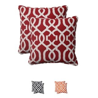 Pillow Perfect New Geo Polyester Red Outdoor Corded Throw Pillows (Set of 2)