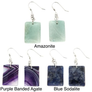 Pearlz Ocean Silver Amazonite, Beaded Agate or Sodalite Earrings