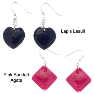 Pearlz Ocean Sterling Silver Lapis Lazuli or Pink Banded Agate Earrings