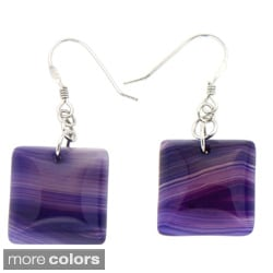 Pearlz Ocean Silver Lapis, Piccaso Jasper or Purple Agate Earrings