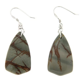 Pearlz Ocean Sterling Silver Picasso Jasper Long Dangle Earrings