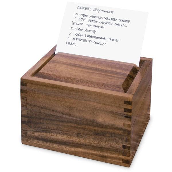 Ironwood Gourmet Acacia Wood Secret Recipe Box
