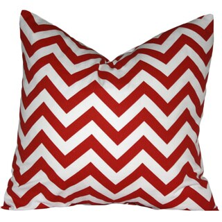 Taylor Marie Modern Lipstick Red and White Zig Zag Chevron Throw Pillow Cover