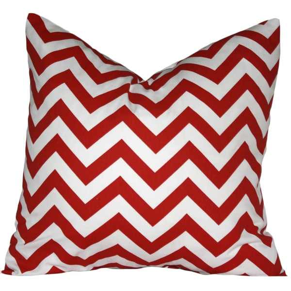 Taylor Marie Lipstick Red/ White Chevron Pillow Cover