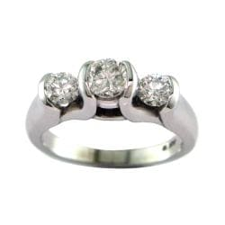 14k White Gold 1ct TDW Certified Clarity-enhanced 3-stone Diamond Ring (F-G, SI1)