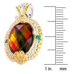 Michael Valitutti Two-tone Ammolite, Emerald and White Sapphire Earrings