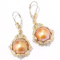 Michael Valitutti Two-tone Golden Mabe Pearl and Brown Diamond Earrings (12-13 mm)