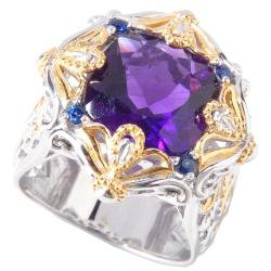 Michael Valitutti Two-tone Amethyst and Blue Sapphire Ring