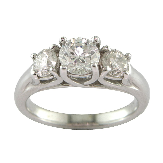 14k White Gold 1 5/8ct TDW Certified Clarity-enhanced 3-stone Diamond Ring (F-G, SI3)