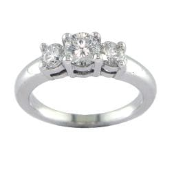 14k White Gold 7/8ct TDW Certified Clarity-enhanced 3-stone Diamond Ring (F-G, SI2)