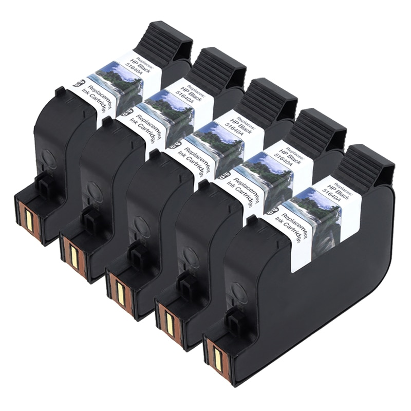 5-pack HP 40 Black Ink 51640A for 330/ 350/ 430/ 450 (Remanufactured)