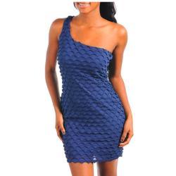 Stanzino Women's Navy One-shoulder Textured Party Dress