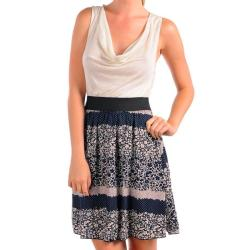 Stanzino Women's Ivory/ Navy Floral Print Cowlneck Dress