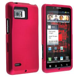 Hot Pink Rubber-coated Case for Motorola Droid Bionic XT875