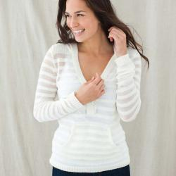 Cream Zen Unlined V-neck Pullover Hoodie (Peru) with Shell Buttons