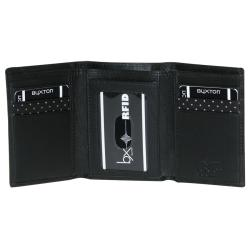 Buxton Men's Black Luciano ID Tri-fold Wallet