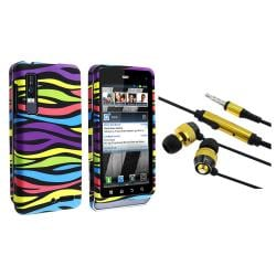 BasAcc Rainbow Zebra Case/ Yellow Headset for Motorola Droid 3 XT862