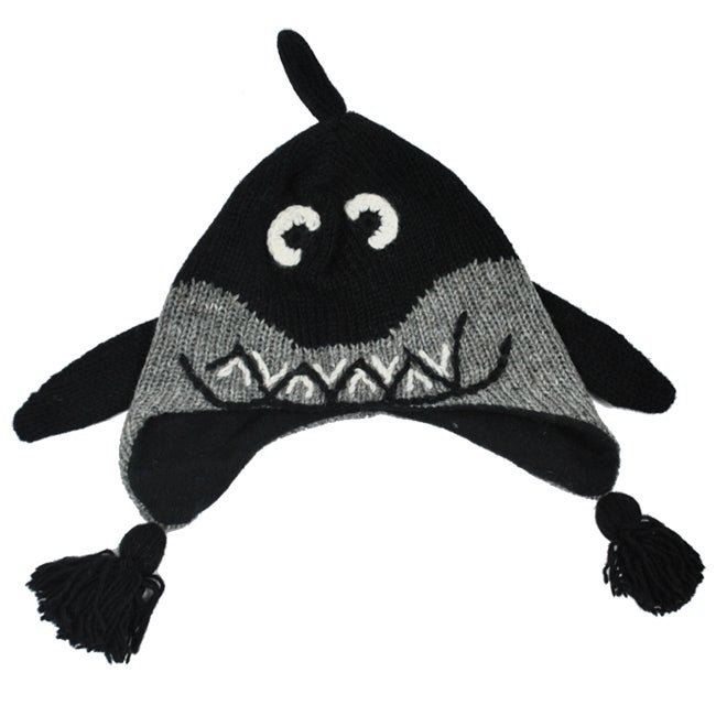 Kid's Wool Fleece-Lined Shark Beanie (Nepal)