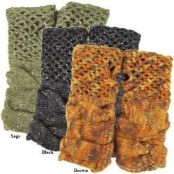 Mohair Wool Fleece-lined Brick Fingerless Hand Warmer (Nepal)