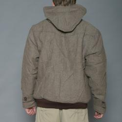 Imperious Men's Khaki/Brown Herringbone Wool-blend Hooded Jacket